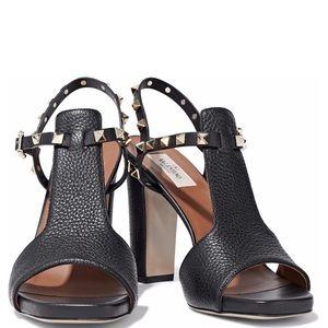 VALENTINO Pebbled Calfskin Rockstud Heels Sandals